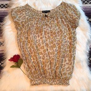 INC- 100%silk Yellow leopard print shirt size M